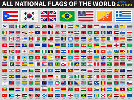 Illustration for Set of all national flags of the world . Stamp flag design . Element vector . - Royalty Free Image