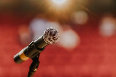 Photo pour Close Up of Microphone Standing at Stage Before Concert - image libre de droit