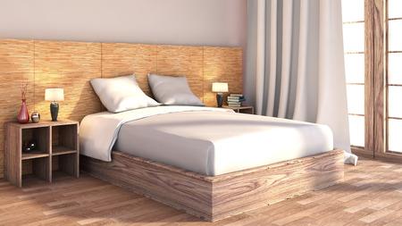 Photo pour bedroom with wood trim - image libre de droit