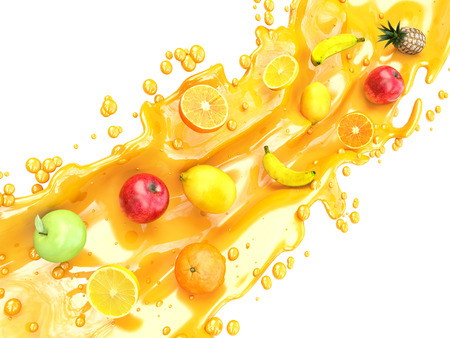 Foto de Different fruits and juice splashes. multifruit juice - Imagen libre de derechos
