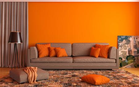 Photo pour interior with brown sofa. 3d illustration - image libre de droit