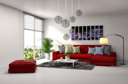 Foto de interior with red sofa. 3d illustration - Imagen libre de derechos