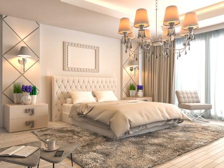 Foto de Bedroom interior. 3d illustration - Imagen libre de derechos
