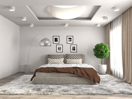 Photo pour Bedroom interior. 3d illustration - image libre de droit