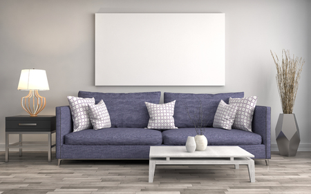 Photo pour Mock up blank poster on the wall of interior with sofa. 3D Illustration - image libre de droit