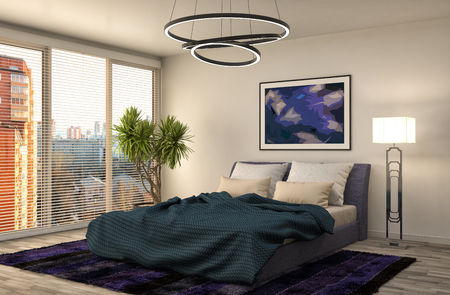 Photo for Bedroom interior. 3d illustration - Royalty Free Image