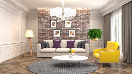 Foto de Interior living room. 3d illustration - Imagen libre de derechos
