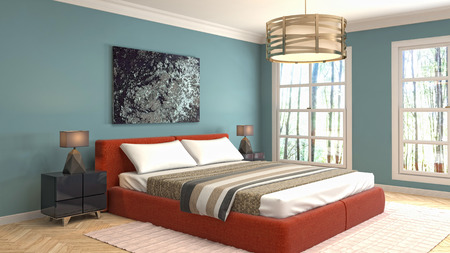Photo pour Bedroom interior. 3d illustration - image libre de droit