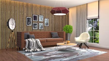 Photo pour Interior of the living room. 3D illustration - image libre de droit