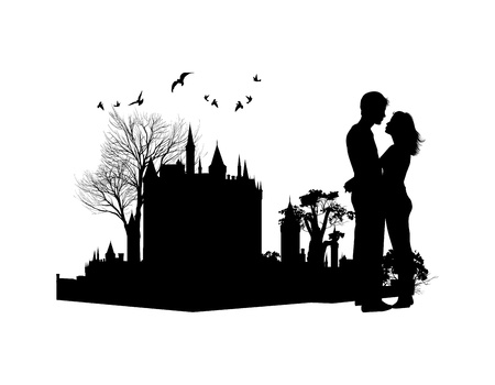 couple in love against the backdrop of an ancient castle