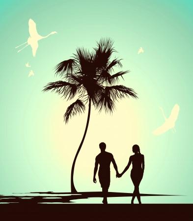 Foto de married couple walking on tropical island - Imagen libre de derechos