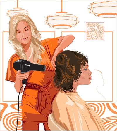 woman barber doing haircut girl