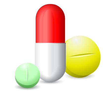 icon green, red white and yellow tablets