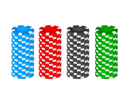 Stack chips on a white background