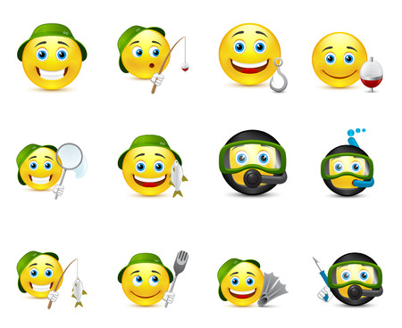 funny illustrations of emoticons whit different elements