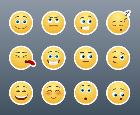 The most beautiful yellow stickers with different emotions