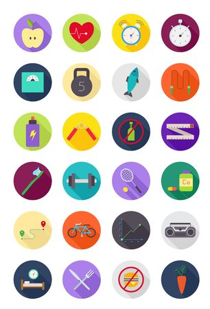 Set of 24 color round healthy lifestyle icons