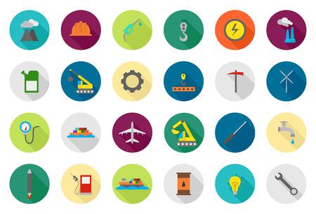 Illustration pour Set of 24 Industry vector round icons - image libre de droit