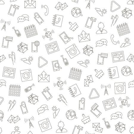 Illustration pour Set of Social life pattern black icons - image libre de droit