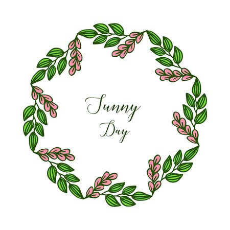 Illustration for Sunny day text with floral frame - Royalty Free Image
