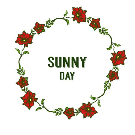 Illustration pour Sunny day text with red floral frame - image libre de droit