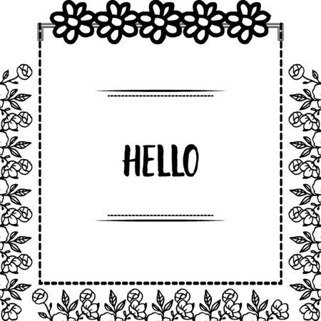 Illustration pour Hello greeting with floral frame - image libre de droit