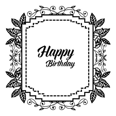 Illustration pour Birthday card with floral frame - image libre de droit