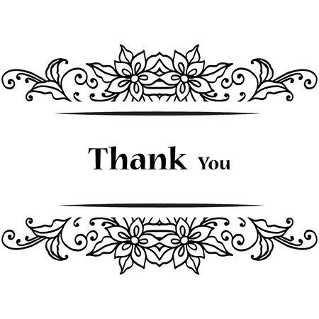 Illustration pour Thank you card with floral design - image libre de droit