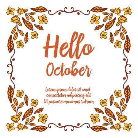Illustration pour Hello October text with floral frame - image libre de droit