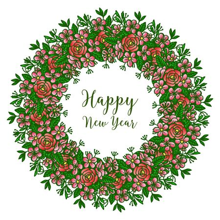 Illustration pour Happy new year wish with floral wreath frame - image libre de droit