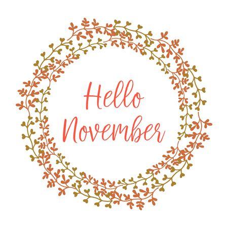 Illustration pour Hello November lettering with foliage wreath frame - image libre de droit