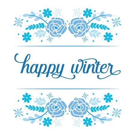Illustration pour Happy Winter lettering with blue floral frame - image libre de droit