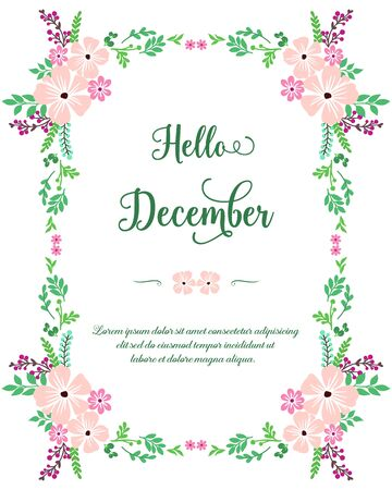 Illustration for Hello December lettering with floral frame - Royalty Free Image