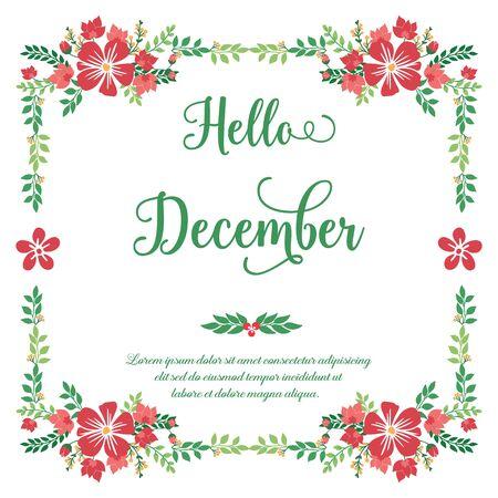 Illustration pour Hello December lettering with red floral frame - image libre de droit