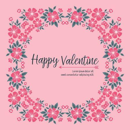 Illustration pour Valentine's Day card template with floral frame - image libre de droit