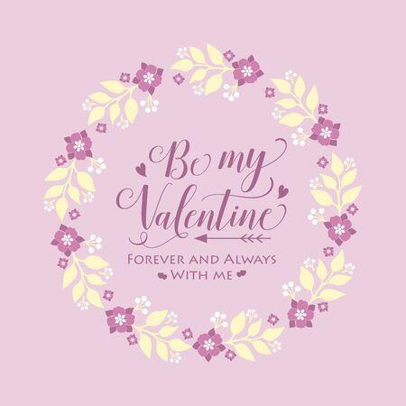 Illustration pour Pattern wallpaper of cards happy valentine, with pink floral frame decoration elegant.Vector illustration - image libre de droit