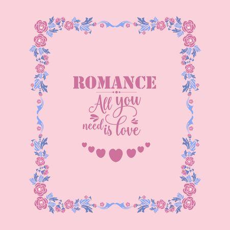 Illustration pour Decorative frame with elegant leaves and flower for romance greeting card template design. - image libre de droit