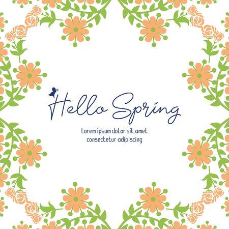Illustration pour Hello Spring lettering with floral frame - image libre de droit