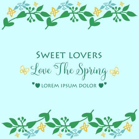 Illustration for Modern shape Pattern of leaf and floral frame, for love spring greeting card template design. Vector illustration - Royalty Free Image