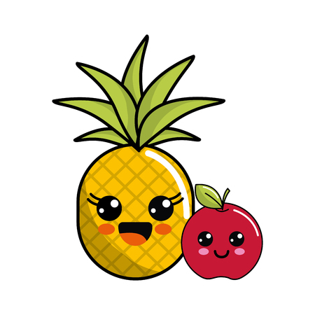 Cute Kawaii Happy Pineapple And Apple Icon Royalty Free