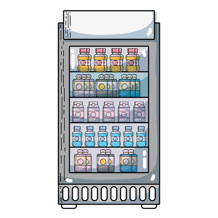 supermarket fridge with fresh drinks beverage