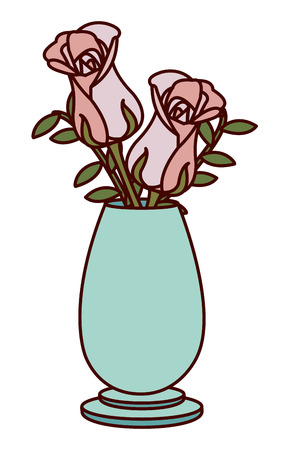 Rose decoration of garden floral and nature theme Isolated design Vector illustration