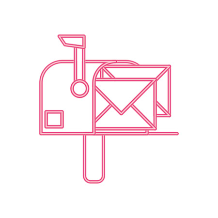 neon line correspondence mailbox with post letter message vector illustration