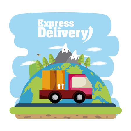 Ilustración de Express delivery truck cartoons vector illustration graphic design - Imagen libre de derechos