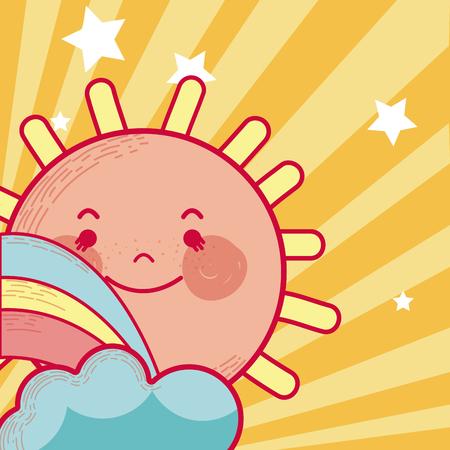 Ilustración de Cute sun cartoon - Imagen libre de derechos