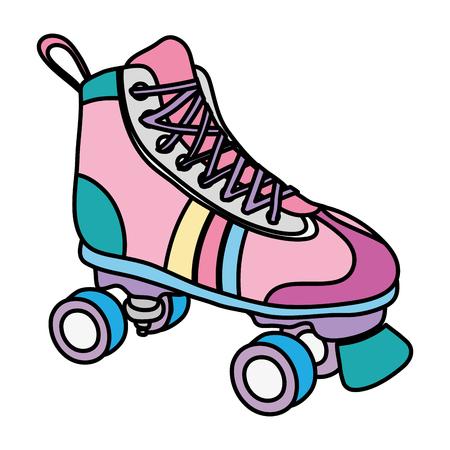 Illustration pour color roller skate style fun sport - image libre de droit