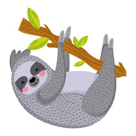 Ilustración de nice sloth wild animal in the branch leaves vector illustration - Imagen libre de derechos