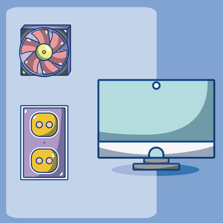 Computer fan cooler hardware cartoons elements vector illustration graphic design