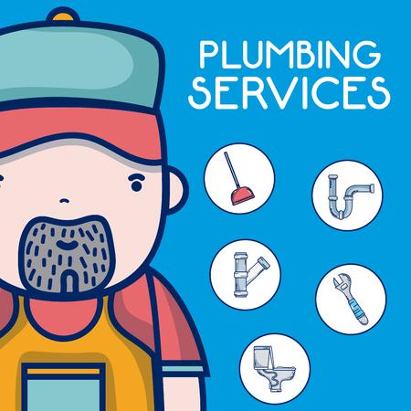 Plumbing service concept plumber cartoon vector illustration graphic design