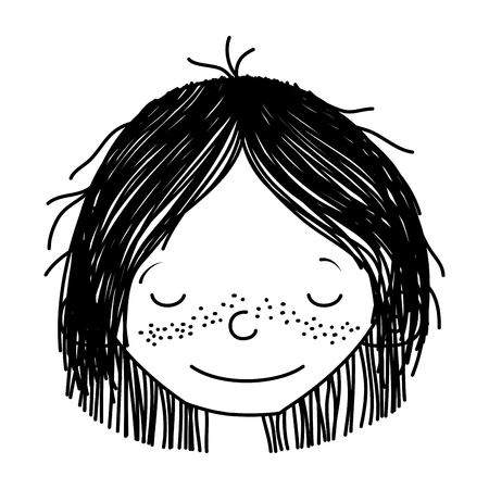 line smile girl head with hairstyle and closed eyes vector illustration